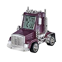 Collections Etc Big Rig Truck Alarm Clock with Moving Wheels, Truck Sounds and Working Lights