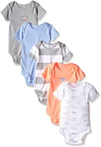 Carters Baby Boys' Shark Bodysuit - 5 Pack, Grey Multi, 9 Months