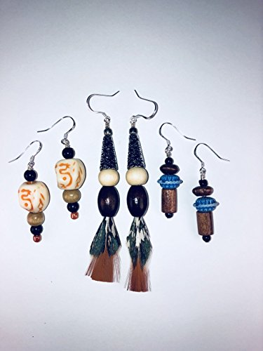 Pequot Native American Handmade Feather and Bead Earring Set. Certificate of Authenticity, Signed and Dated by the Artisan who Created Them. (hypo-allergenic) Made in the U.S.A.