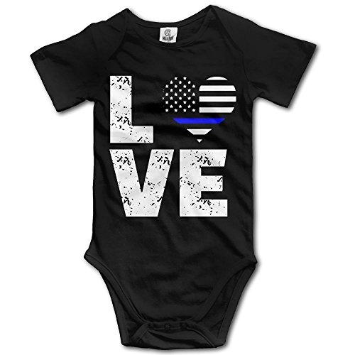 American Girl Infant Creeper - YUE-SKD-SK Love Thin Blue Line USA Flag Creeper Jumpsuits Short Sleeve Gentleman Bodysuit Onesies