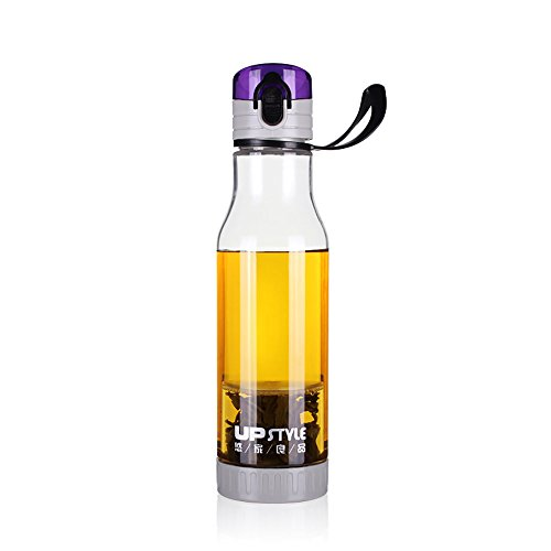 UPSTYLE BPA Free Plastic Cup Portable Transparent Water Bottle Sports Water Bottle with Tea Infuser and Handle, 17.5OZ, PC116, Purple