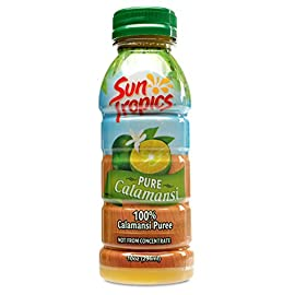 Sun Tropics Puree 5 Contains: 3 - 10 ounce bottles of Sun Tropics 100% Pure calamansi, not from concentrate, 100% Pure calamansi puree Delicious recipe ideas: perfect for mouthwatering Filipino dishes, cocktails, nonalcoholic drink mixers, vinaigrettes, sauces, dips, dressings, and marinades Our pure calamansi contains: sun-ripened, hand-harvested and minimally processed 100% Pure calamanis juice, nothing but 60 large, freshly squeezed calamnsi limes in every bottle