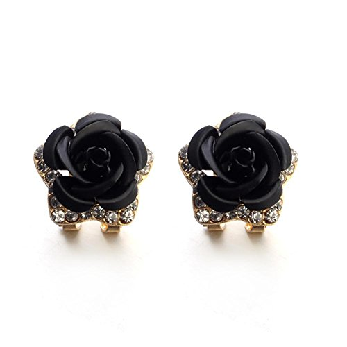 Hot Sale! Paymenow Women Girls Rose Rhinestone Small Earrings Fashion Eardrop Jewelry with Summer Dress (Black)