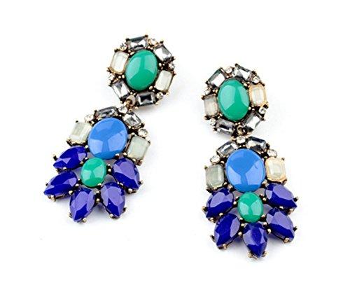 P.phoebus Gold Vintage Navy Blue Swarovski Crystal Studs Earrings Green Rhinestones Dangle Charms Hoops For Women Girls