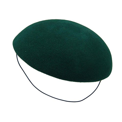 HATsanity Women's Vendimia Textura de lana Llanura Sombrerería Pillbox Verde