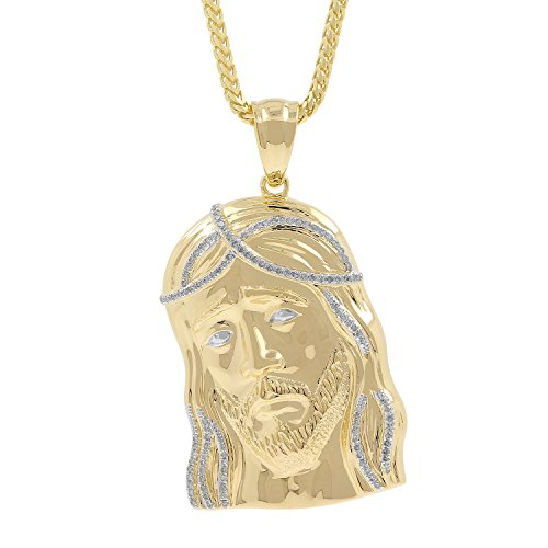 0.45ct Diamond Jesus Face Mens Hip Hop Pendant Necklace in Yellow Gold Over 925 Silver (I-J, I1-I2) by Isha Luxe-Hip Hop Bling