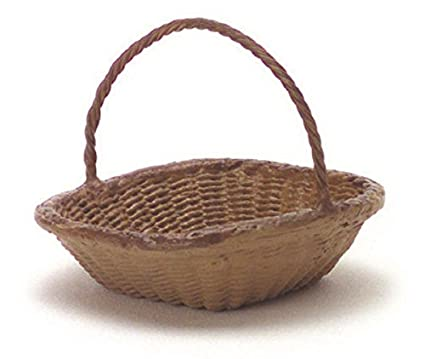 Dollhouse Miniature White Wicker Basket w//Handle Falcon Miniatures