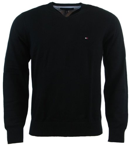 (Tommy Hilfiger Mens Long Sleeve Pacific V-Neck Pullover Sweater - XS - Black )