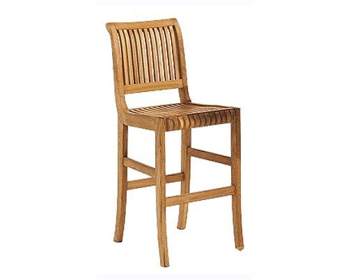 TeakStation Grade-A Teak Wood Outdoor Patio Garden Giva Armless Bar Chair (30