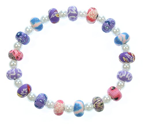 e Periwinkle Polymer Clay and Simulated Pearl Small Stretch Bracelet, 6.0 Inches ()