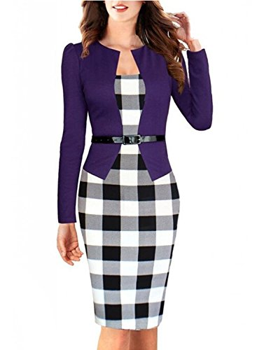 Women's Elegant Colorblock Belted Wear to Work Business Bodycon Dress,4X,Purple