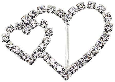 Trimming Shop 10pcs Rhinestone Diamond Buckle Slider for Chair Cover Bands Art and Craft 16mm x 30mm Wedding Invitation Cards Women Accessories,