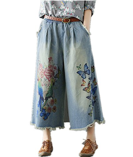 P85 Women Cropped Denim Pants Jeans Trousers 100% Cotton Embroidered Casual Loose Low Crotch Ripped Poled Harem Pants