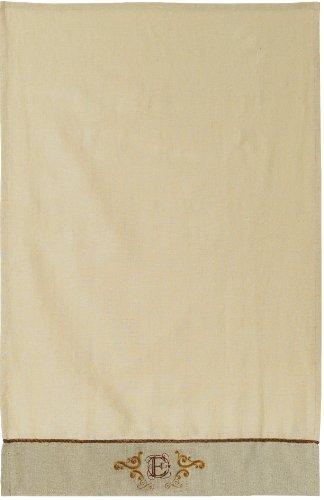 Grasslands Road Cucina Monogram Letter Initial E Embroidered Scrollwork Tea Towels, Set of 2