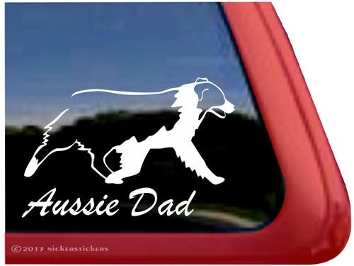 (Aussie Dad ~ Australian Shepherd Vinyl Window Auto Decal Sticker)