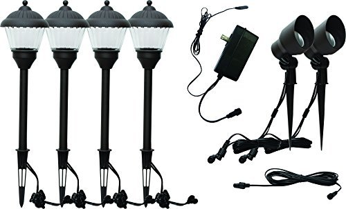 HunnyKome Solar Lighting PWN-LV1: 7 Piece LED Low Voltage Starter Kit (4 x 100 Pathway, 2 x 150 Lumen Spotlight, 1 x 35w Transformer), Black [並行輸入品] B07R4PKBJD