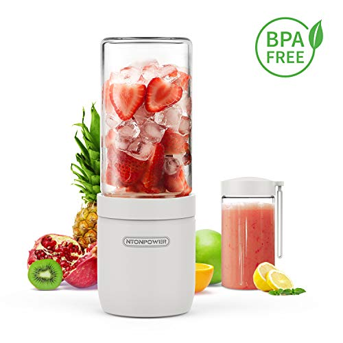 Portable Glass Blender – NTONPOWER Cordless Personal Blender Jucier Cup with USB Rechargeable, 13 Oz Single Serve Fruit Mixer with Stainless Steel Blade, Multifunctional Small Travel Blender, BPA Free