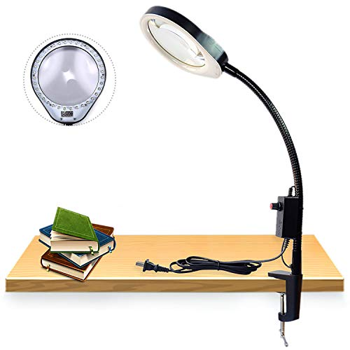 Desktop Magnifier Lamp Daylight Effect Magnifying Glass Lamps Long arm Bracket Clip Clipboard Magnifier with a Lamp Magnification Arm Length 80cm w/Desk LED Work Light Magnifying Glass (8X, - Magnifier Professional Fluorescent Lamp