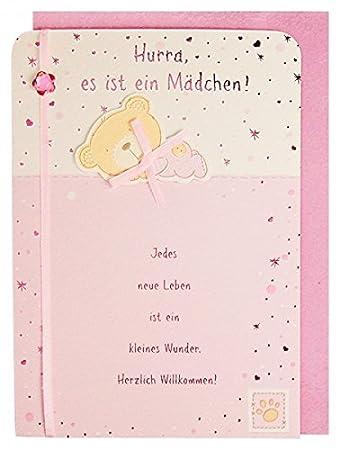 Gluckwunschkarte Geburt Baby Madchen Mit Spruch Und Applikation