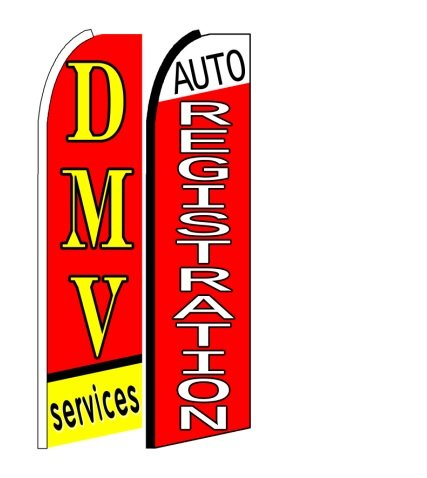 DMV Services, Auto Registration King Size Swooper Flag Sign Pack of 2 ()
