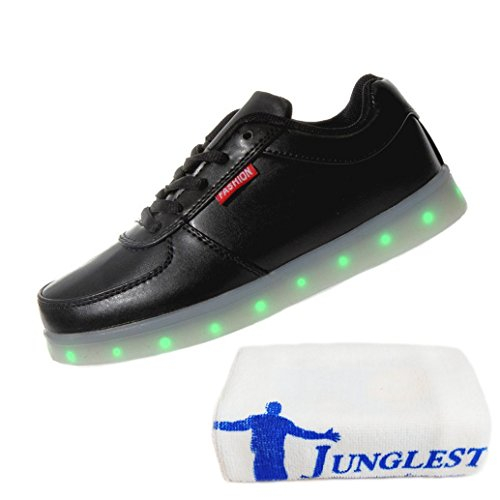[Present:small towel]JUNGLEST® Women Men USB Charging LED Light Up Shoes Black QyaPwpgor