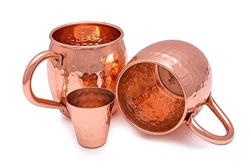 Premium Set Of Two 16 Oz Moscow Mule Mugs By Quality Copper - 100% Copper Drinking Cups - ½ lb Weight & Riveted, Sturdy Handles - Bonus Shot Glass Included - Ideal Present For Men & Women