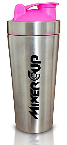 Mixer Cup The Cleanest Protein Bottle - Stainless Steel - Durable - Easy To Clean - Keeps Drinks Colder (Pink)