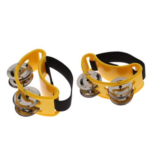 FidgetFidget 1 par de panderetas de percusión con instrumentos musicales con cascabeles metálicos, Amarillo