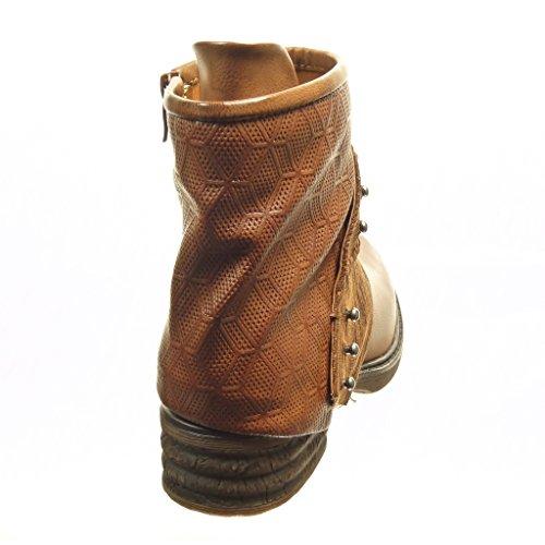 Angkorly - Zapatillas de Moda Botines biker - motociclistas cavalier bimaterial mujer tachonado perforado cuerda Talón Tacón ancho 4 CM - plantilla Forrada de Piel - Camel