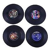 Dining Table Placemats Retro Vinyl Record Anti-Slip Beverage Coasters Cup Holder Coffee Mug Pads 4pcs/Set