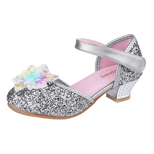 Wangwang Mary Jane Shoes for Girls Cystal Flower Sparkly Princess Toddler Little Girls Sandals (12 M US Little Kid, Silver Color) ()
