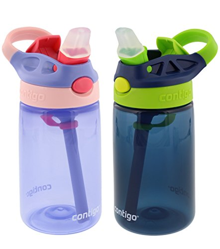 Contigo Kids Autospout Gizmo Water Bottle, 14oz (Lavender/Navy Blue) 2 Pack