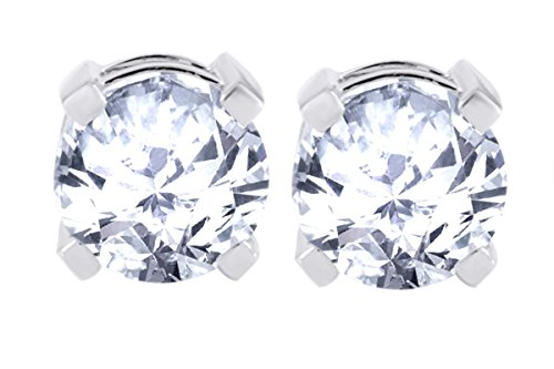 14k White Gold Solitaire Round Cubic Zirconia CZ Stud Earrings in Secure (Wg Round Studs)