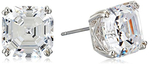 Nicole Miller 10 mm Signature Asscher Prong Rhodium/ Clear Stud (Asscher Stud Earrings)