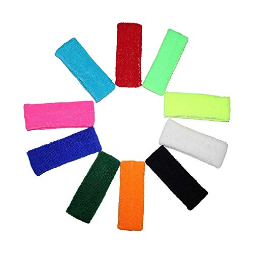 Kurtzy 10 Multipack of Headband Sweatbands Sports Sweat Bands for Men, Women and Children - Elasticated Headbands for Sport, Cycling, Biking, Gymnastics and Athletics - Bright Colors