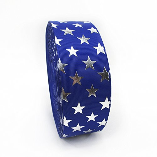 5 Yards 2 Inch Independence Day Stars Silver Plating Grosgrain Ribbon (Royal Blue) - Vintage Grosgrain Ribbon