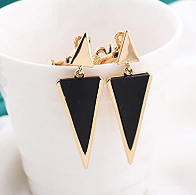 Clip on Earring Back with Pad Double Triangle Dangle for Girl Kid no Piercing Fashion Jewelry Resin White KRecNHukz7