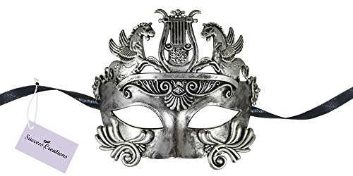 Gladiator Costume Maximus (Success Creations USA Maximus Roman Gladiator Masquerade Mask for Men (Silver))