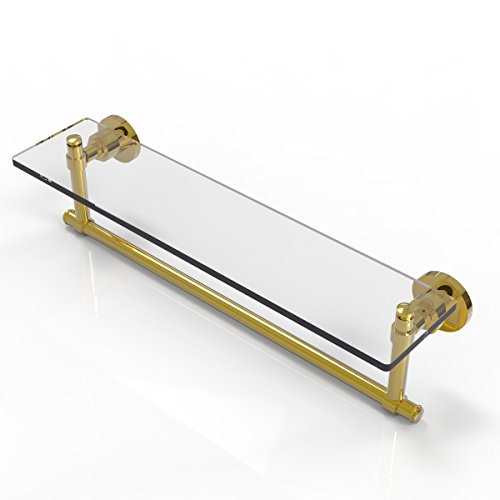 Allied Brass Washington Square Glass Vanity Shelf with Integrated Towel Bar