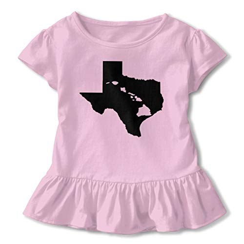Texas and Hawai'i Roots Kids Girls Short Sleeve T Shirts Ruffles Shirt Shirt Pink ()