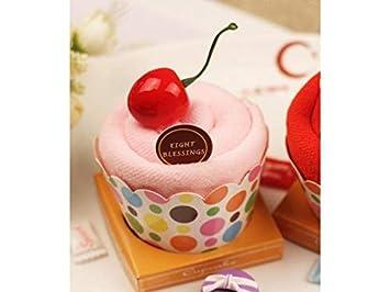 yter toalla tartas Cupcake caja de servilletas caja de guantes de baño suave para Facial toalla Baby Shower toalla de Navidad cadeau-rose: Amazon.es: Hogar