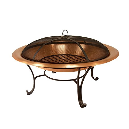 "Asia Direct Catalina Creations 35"" Solid Copper Fire Pit with Log Grate, Spark Screen, with Lift ()"
