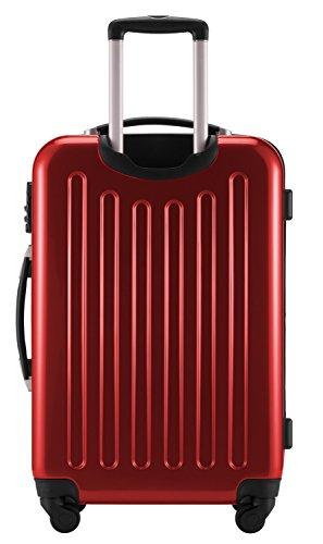 HAUPTSTADTKOFFER® Hartschalen Koffer · 3 Koffergrößen (42 Liter · 74 Liter · 119 Liter) · Hochglanz · Entweder mit Normalen oder TSA Zahlenschloss + DESIGN KOFFERANHÄNGER (119 Liter, Rot)