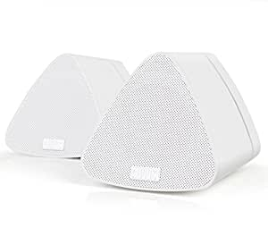 August MS515W Dual Speaker Portable Bluetooth Stereo Speakers –2x5W Wireless Speaker Pair for Phones, Tablets, TVs and PCs – Apple, Android, Windows and Mac Compatible (White)