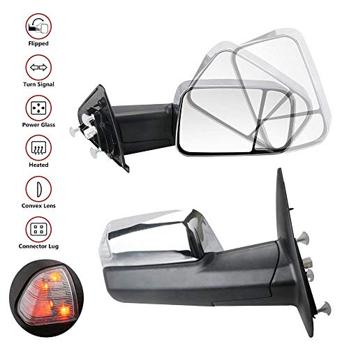 Cheapest Price! MOSTPLUS New Chrome Towing Mirrors For 2010-2012 Dodge Ram 1500 2500 3500 Power Heat...