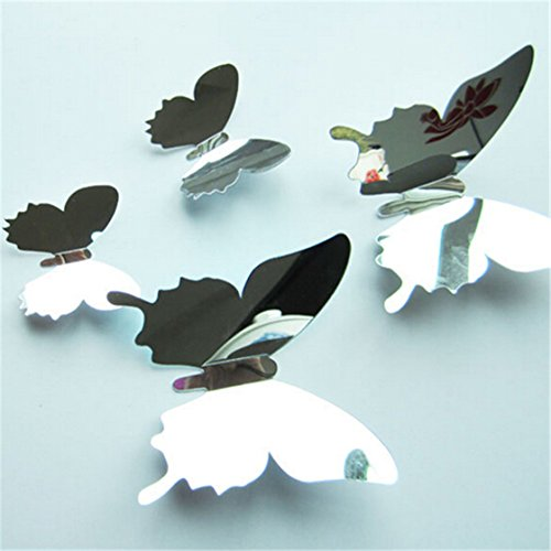 TraveT 12Pcs Mirror Butterfly Stickers
