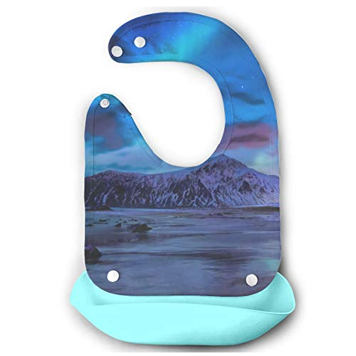 BradStaplesz Baby Aurora Borealis Northern Lights Lofoten Islands Adorable Bib Gift Sky Blue