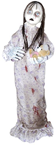Creepy Doll For Halloween (Hanging Creepy Little Girl Babydoll Holding Bear Halloween Prop Decoration)