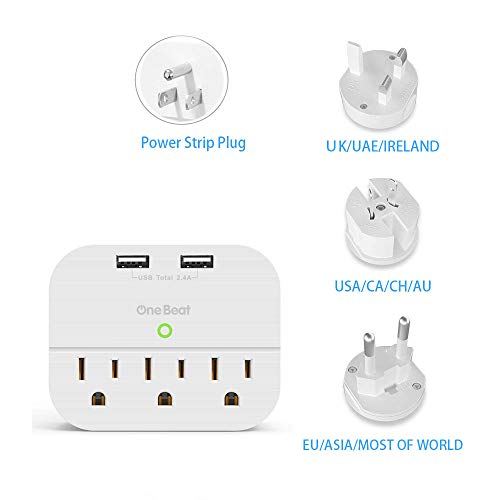 World Travel Adapter Kit- Cruise No surge Wall Outlet Extender with Dual USB Ports and Multi Plug, 3 Outlet Power Strip with All in One power Converters for UK,USA,AU,Europe & Asia and more