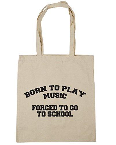 HippoWarehouse Born to Play música obligado a ir a la escuela bolso de compras bolsa de playa 42cm x38cm, 10litros Natural